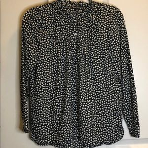 Black JCrew Blouse with Hearts